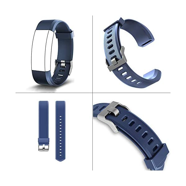 Aitoo® ID115 Plus Correas de Repuesto de TPU para Reloj de Pulsera de Fitness ID115 Plus HR, 5 Colores, Negro/Azul/Morado/Verde/Rosa 6