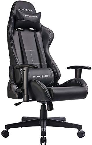 GTPLAYER Gaming Stuhl Chefsessel Racing Stuhl Kunstleder Bürostuhl Höhenverstellbarer Schreibtischstuhl Ergonomisches Design mit Verstellbaren Armlehnen und Wippfunktion
