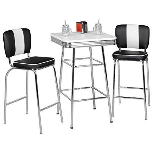 FineBuy KING - American Diner Bartisch 60 x 60 x 100 cm quadratisch aus MDF / Aluminium   Retro Stehtisch USA in Weiß / Silber   Robuster Bistrotisch im Stil der 50er Jahre   Party Bar Möbel Tisch mit Untergestell aus verchromtem Alu - 2