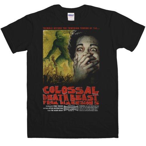 Refugeek Tees - Herren B Movie T Shirt - Colossal Death Beast - Small - Black (Black Beast Shirt)