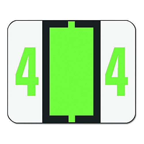 Single Digit End Tab Labels, Number 4, Light Green-on-White, 500/Roll, Sold as 1 Roll