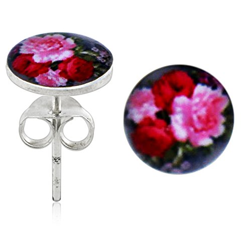 coloful-floral-logo-picture-925-sterling-silver-ear-pin-stud-earring-jewellerry
