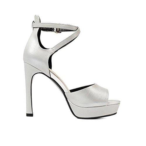 W&LM Signorina Tacchi alti sandali High end Piattaforma impermeabile Bocca di pesce Tacchi alti Fibbia di parole sandali vera pelle scarpa Silver