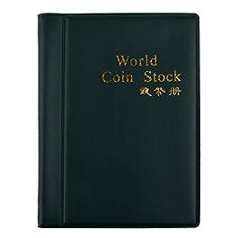Album da numismatica, collezione di monete antiche, 120 scomparti, tascabile verde