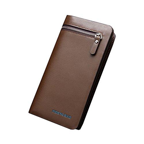 Wewod Mode Herren lange Geldbörse Portemonnaie Brieftasche Geldbeutel Kreditkartenetui mit Handy RV-Taschen und Münzgeldfach ca. 19.7*10*3 cm Braun