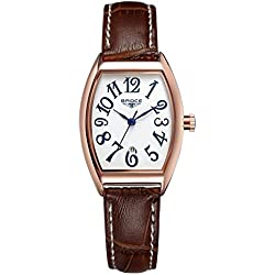 ladies waterproof watches/Retro calendar leather strap watch/Leisure quartz watch-F
