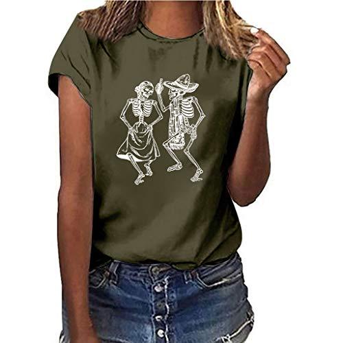 e0d454bcad3ab4 FNKDOR Women T Shirt Plus Size Print Skull Short Sleeve Round Collar  Multicolor Loose T Shirt Summer Leisure Blouse (D-Army Green,UK-8/CN-S)