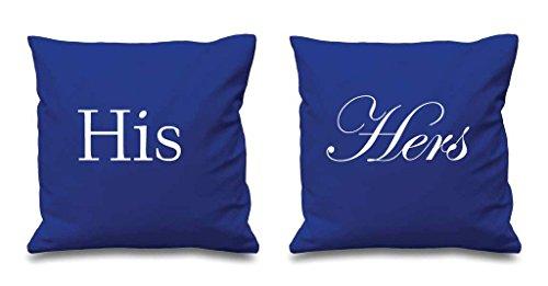 HIS Hers Bleu Housses de coussin 40,6 x 40,6 cm Couples Coussins Saint-Valentin anniversaire Boyfriend Girlfriend Chambre à coucher Coussin décoratif Maison