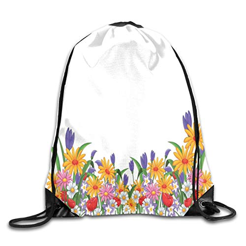 PPOOia Drawstring Backpacks Bags Daypacks,Cartoon Like Print Garden Floral Daisies Violets Tulips Nature Theme Decor,5 Liter Capacity Adjustable for Sport Gym Traveling Floral Tulip-rock
