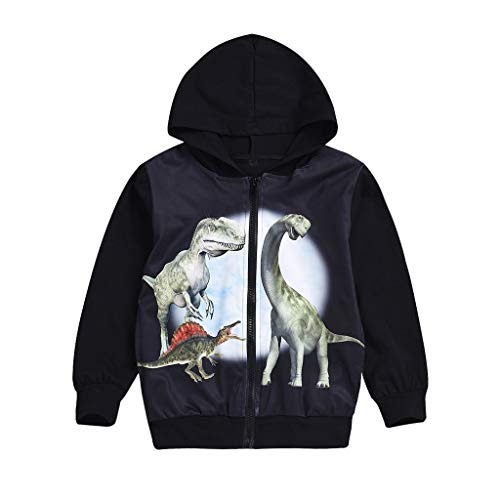 Yanhoo Kinderkleidung,Baby Jungen Winter Kinder Langarm Kapuzenpullover mit Dinosaurier Print Baumwolle Pullover Hoodies Sweatshirt Langarmshirt Oberteile (2-7T) (100, Schwarz-1)
