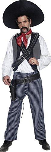 Smiffys, Herren Mexikanischer Bandit Kostüm, Hemd, Weste, Hose und Halstuch, Größe: M, 34292 (Western Alte Shirt)