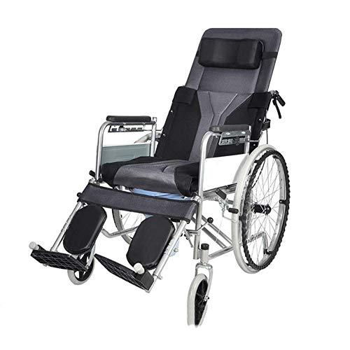 Wheelchair Falten Selbstfahrer Völlig liegen Rollstuhl mit Bremse, Stuhl Kommode,Licht Transport Aluminiumlegierung zum Extra Komfort, Unterstützung 410 lbs, (6-Gang einstellbar) Klaury