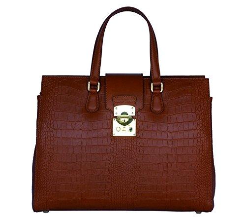 SILVIO TOSSI Damen Leder Handtasche Schultertasche Ziegel Modell 11326-05 -