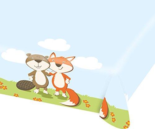 Tischdecke * Fox & Beaver * aus Papier für eine Mottoparty oder Kindergeburtstag // Fuchs Biber Waldtiere Party Geburtstag Papiertischdekce Table Cover