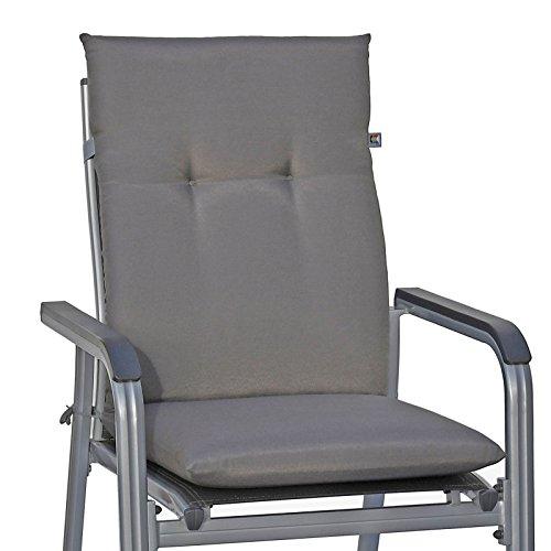 4 Auflagen für Stapelsessel Gartenmöbel Kettler Dessin 857 uni grau 110 cm ohne Sessel