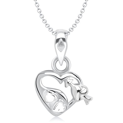 Vina Jewels Valentine Cupid's Arrow in Heart Shape Rhodium plated Pendant – P1217R [VKP1217R]