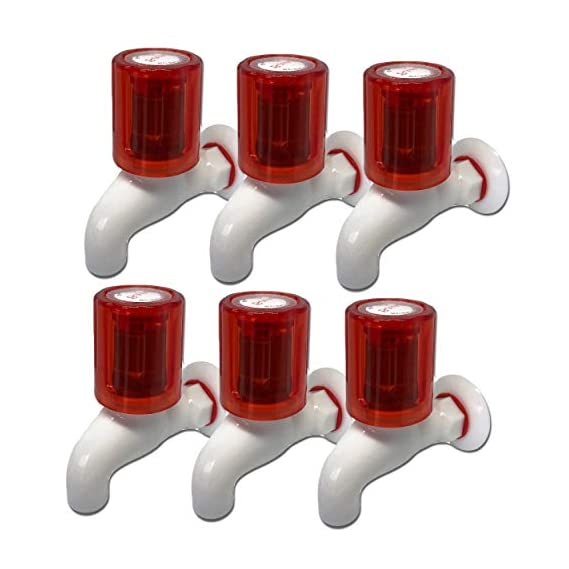 Impoda PVC Plastic Taps Heavy Turbo Red Crystal BIB Cock 1/2 Inch Thread Taps for Bathroom washbasin and Outdoor (6)