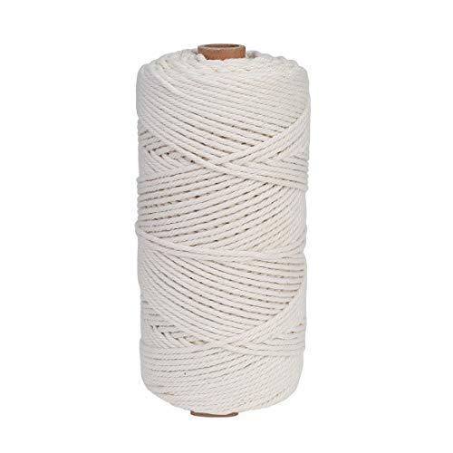 Makramee Garn 3 mm x 200 m Baumwollgarn Baumwollkordel für DIY Handwerk Basteln Wand Aufhängung Pflanze Aufhänger