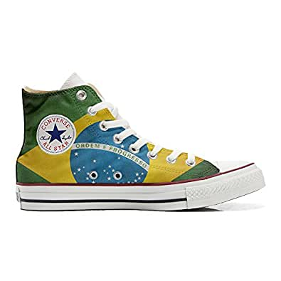 Converse All STar CUSTOMIZED , Sneaker Unisex, printed Italian style with brazil flag - size 35 EU
