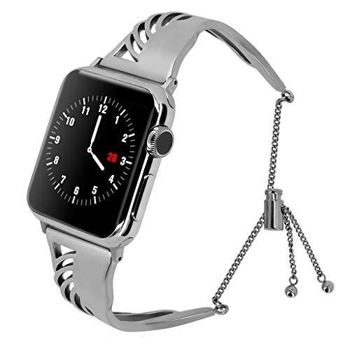 XNBZW Kompatibel für Apple Watch Band 42mm 44mm iWatch Serie 4, Serie 3, Serie 2, Serie 1, Durchbrochene Schnitzerei Edelstahl Metall Armband(Silber) (Tommy Hilfiger Watch Orange)