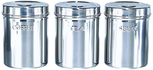 Buckingham - Botes de almacenamiento para té, café y azúcar, 10 cm de diámetro, acero inoxidable, 3 unidades, color plateado
