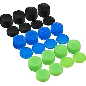 24 Stück Daumen Griffe Silikon Ersatz Analog Stick Abdeckungen Anti-Rutsch Joystick Regler Kappe für Xbox One