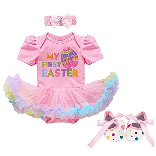 Fairy Baby Kleinkind Baby Mädchen 1. Ostern Outfit-Set Neugeborenes Säugling Kleid Kostüm Size M/66(3-6 Monate) (Rosa Ei)