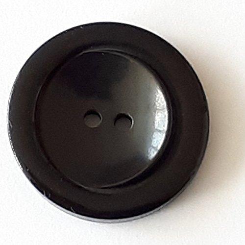 Polyesterknopf mit 2 Löchern - Größe: 28mm - Farbe: schwarz - Art.Nr. 380362
