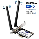 Hommie Carte Réseau Wi-FI avec Bluetooth 4.2 Adaptateur PCI Express Double Bande 5GHz sans Fil Intel 7265 AC 1200Mbps Carte WiFi PCIE Wireless pour PC Supporte Windows7,8,10/Linux4.2+