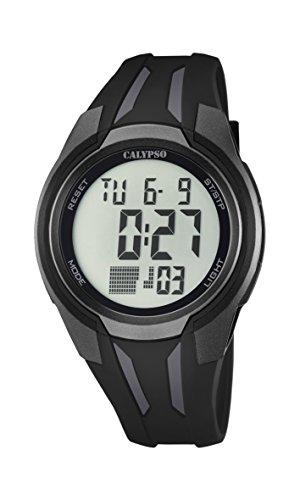 Calypso–Reloj digital unisex con LCD Pantalla Digital Dial y correa de plástico en color negro K5703/6