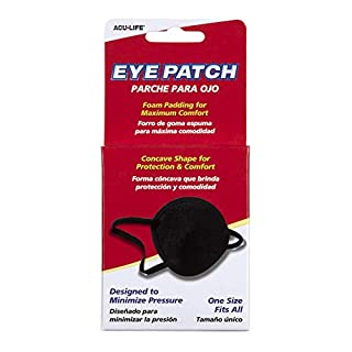 Acu-life Eye Patch, Black   Protects and Blocks Light   Adjustable for Kids and Adults   Great for Pirate Costume and Games