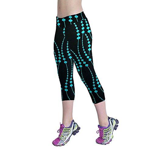 iBaste Leggings de Sport Femme imprimé Jogging Yoga Pantalons Taille Haute Capri Style 2