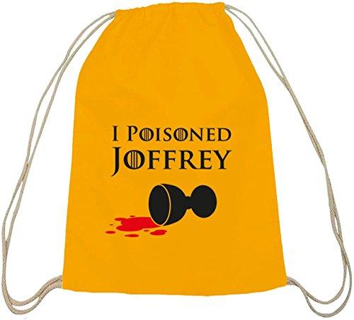 Shirtstreet24, I Poisoned Joffrey, Bus Baumwoll natur Turnbeutel Rucksack Sport Beutel gelb natur