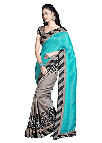 Ewows Women Bhagalpuri Art Silk Saree Sari (Blue And Grey)