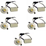 Galaxy 1 Watt LED COB/Spot Light/Button Light (Warm White) Round Driver Included Pack Of 5