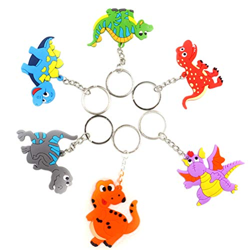 TENDYCOCO Keychain Dinosaurier Schlüsselanhänger Modische Geschenk Hängende Verzierung für Kindergeburtstagsfeiergeschenk 6 stücke (Eisen Ring Stil 1 + 2 + 3 + 4 + 5 + 6) - Aus Verzierungen
