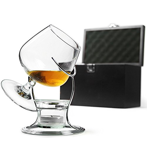 bar@drinkstuff Deluxe Cognac & Brandy Wärmer Set inklusive Brandy Glas, Brandy Wärm-Ständer, Teelicht & Teelichthalter Ballonglas, Schwenker für Brandy, Cognac, Armagnac oder Calvados