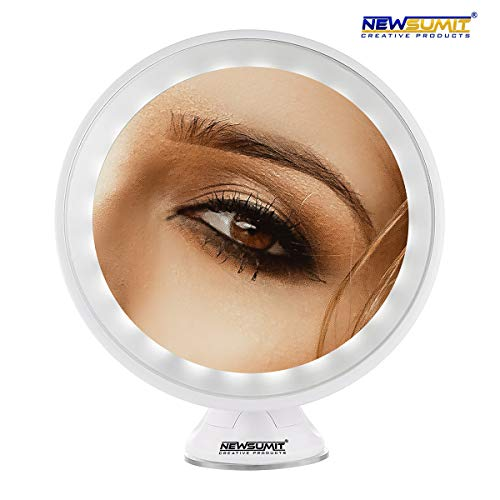NEWSUMIT creative products Espejo de Maquillaje Aumento 10X - giratiorio 360º- con Luces LED - Dimmer...