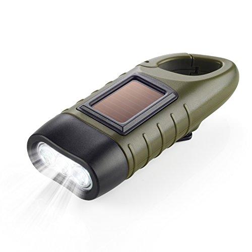 Dynamo Taschenlampe Handkurbel & Solar Notfall-Taschenlampe mit Karabiner Clip für Outdoor Camping Klettern Wandern