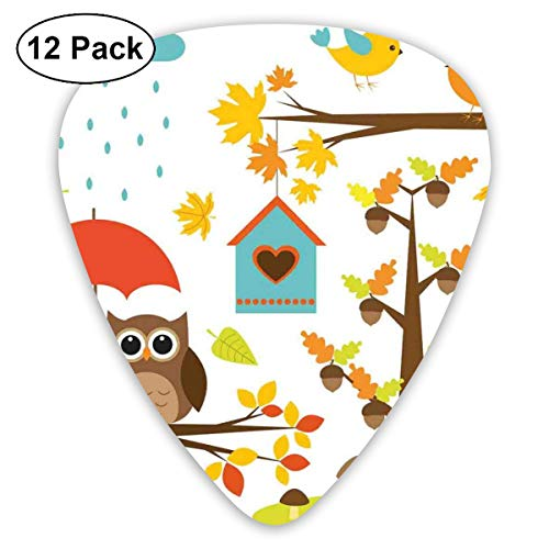 Celluloid Guitar Picks - 12 Pack,Abstract Art Colorful Designs,Cartoon Style Print Owl Birds Nest Fall Acorn Maple Tree Funny Umbrella Mushroom,For Bass Electric & Acoustic Guitars. - Owl-guard