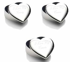 Engraved I Love My Nannie, Nanny or Nanna Heart Trinket Box Complete with Gift Box