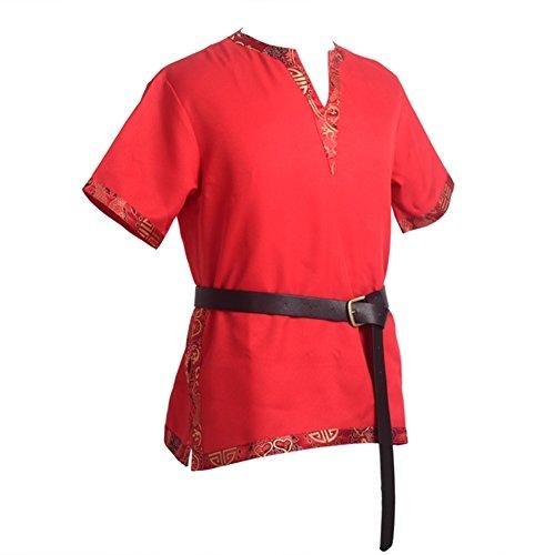 BLESSUME Mittelalterliche Wikinger-Tunika LARP Aristokrat Chevalier Ritter Krieger Cosplay Kostüm Viking Kostüm mit einem Ledergürtel (Rot, 2XL)