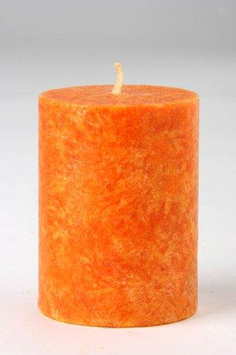Vela natural cilíndrica pilar Naranja. 5 Ø x 6,5 cm.