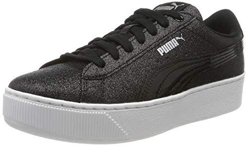 Kunstleder Platform (Puma Mädchen Vikky Platform Glitz Jr Sneaker, Black 08, 6 EU)
