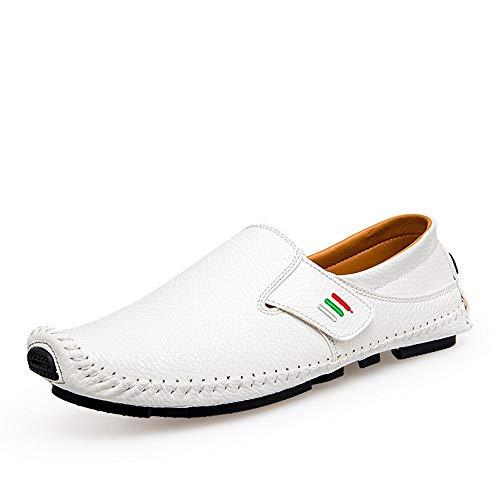 Schnalle-mokassin (BBTK Freizeit Weiche Lederschuhe Driving Loafer Für Männer Boot Mokassins Slip On Style Mikrofaser Leder Handtailor Mode Schnallen Low Top (Color : Weiß, Größe : 39 EU))