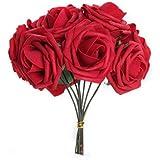 FACILLA® Bouquet 10pcs Fleur Artificiel Roses en Mousse Rouge Déco Mariage Maison