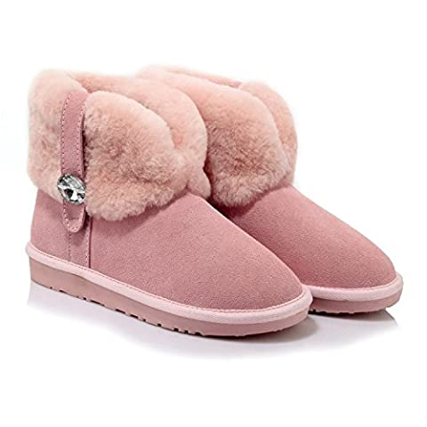KAFEI Des bottes d'hiver femelle diamant dépoli tube court télévision occasionnels à tête ronde, rose, 42 ??Custom