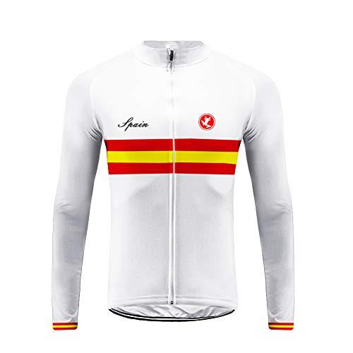 Uglyfrog Designs Ciclismo Jersey Hombres Bicicleta Ropa Camiseta de la Bicicleta Top MTB Jersey Manga Larga Invierno Fleece Warm Bandera Nacional Raya España Series