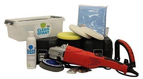 CLEANOFANT Universal-POLITUR Set mit Poliermaschine - Polierset für Wohnwagen, Wohnmobil, Caravan. Kratzer entfernen/aus Polieren.