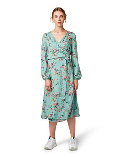 TOM TAILOR Casual Damen Florales Midi Wickel Kleid, Grün (Mint Design 22338), (Herstellergröße: 40) Relaxed Fit-shift